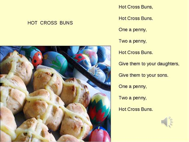 HOT CROSS BUNS Hot Cross Buns, Hot Cross Buns. One a penny, Two a penny, Hot...