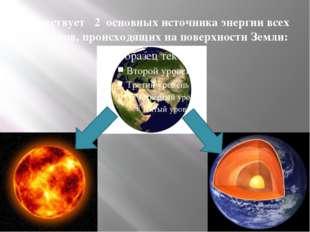 Существует 2 основных источника энергии всех процессов, происходящих на повер