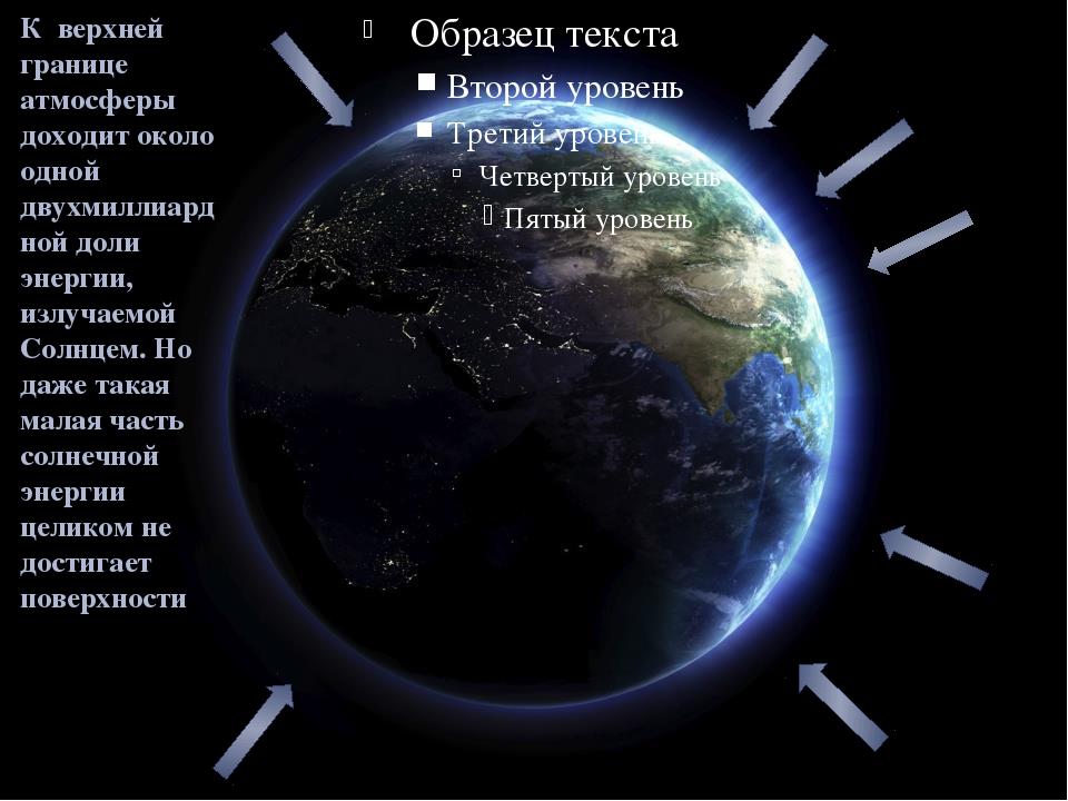 К верхней границе атмосферы доходит около одной двухмиллиардной доли энергии,...