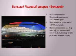 Большой Ледовый дворец «Большой» Использование на Олимпийских играх: хоккейна