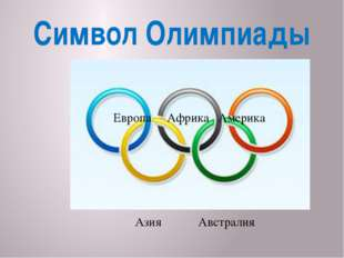 Символ Олимпиады Европа Африка Америка Азия Австралия