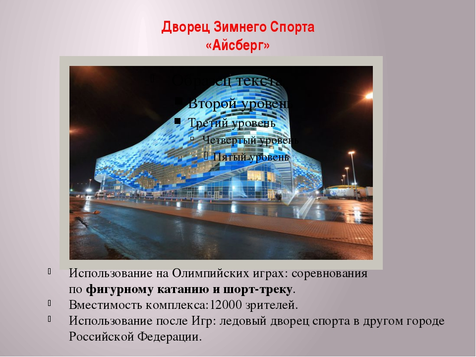 Дворец Зимнего Спорта «Айсберг» Использование на Олимпийских играх: соревнова...