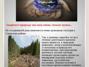 Защитите природу она нам очень сильно нужна.. На сегодняшний день намечается