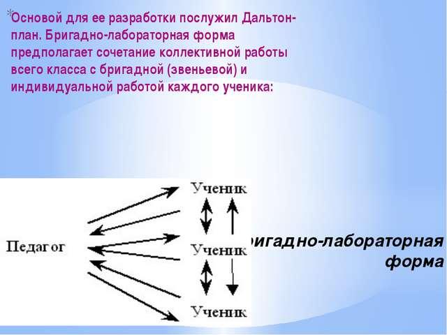 4) Бригадно-лабораторная форма Основой для ее разработки послужил Дальтон-пла...