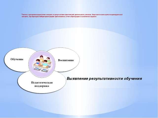 Выявление результативности обучения Учитель в основном осуществляет контроль...