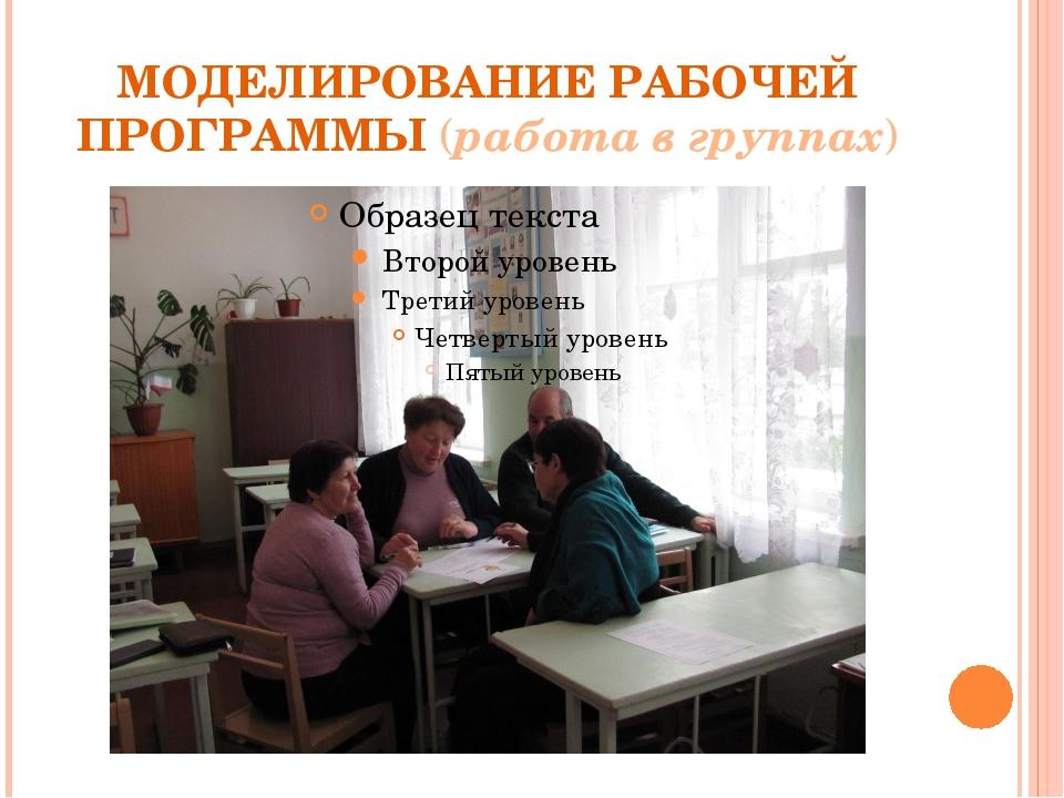 МОДЕЛИРОВАНИЕ РАБОЧЕЙ ПРОГРАММЫ (работа в группах)