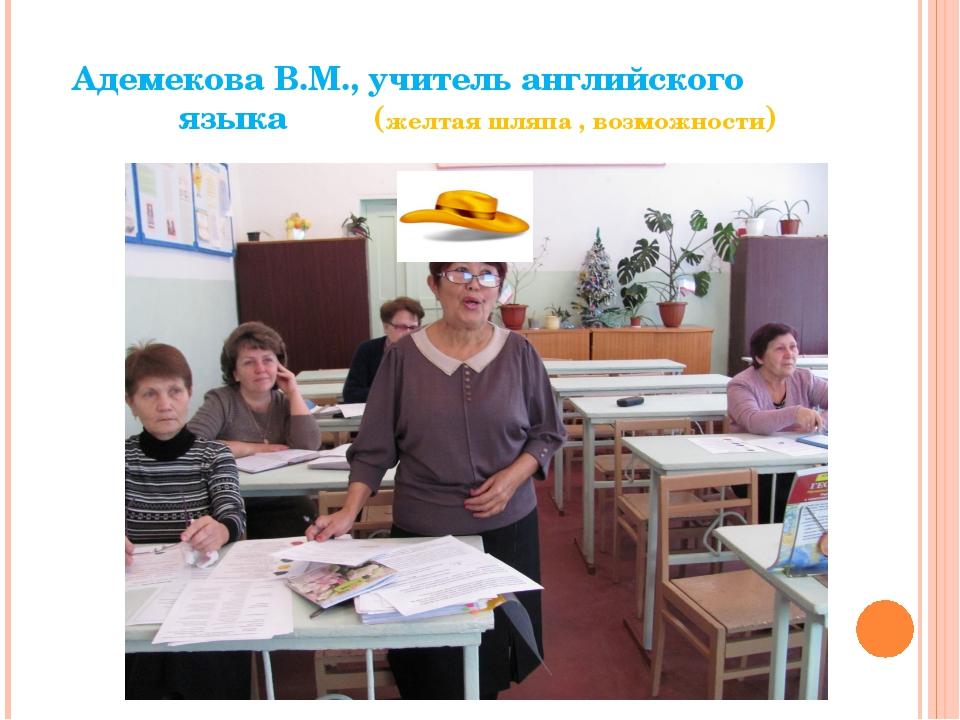 Адемекова В.М., учитель английского языка(желтая шляпа , возможности)