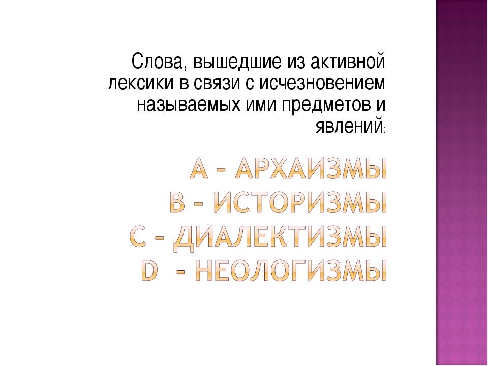 Слова, вышедшие из активной лексики в связи с исчезновением называемых ими пр...