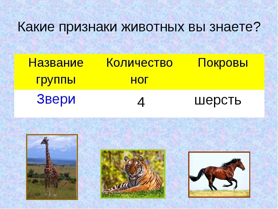 Какие признаки животных вы знаете? 4 шерсть