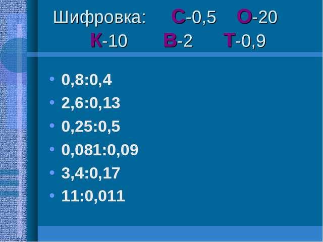 Шифровка: С-0,5 О-20 К-10 В-2 Т-0,9 0,8:0,4 2,6:0,13 0,25:0,5 0,081:0,09 3,4:...