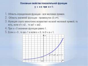 Основные свойства показательной функции y = a x при a > 1: Область определени
