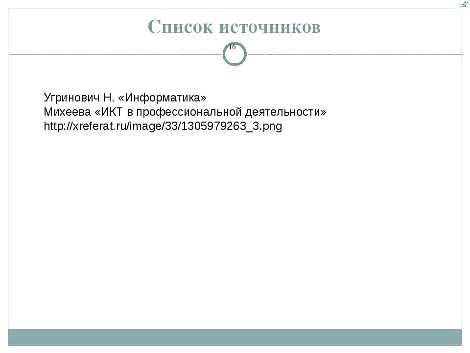Список источников Угринович Н. «Информатика» Михеева «ИКТ в профессиональной...