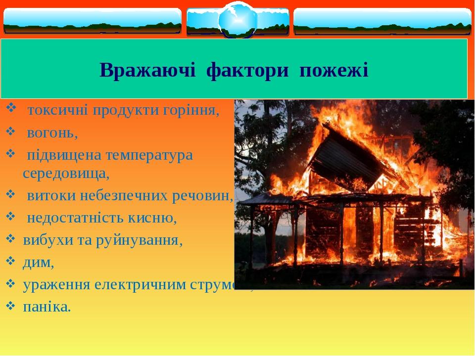 токсичні продукти горіння, вогонь, підвищена температура середовища, витоки...