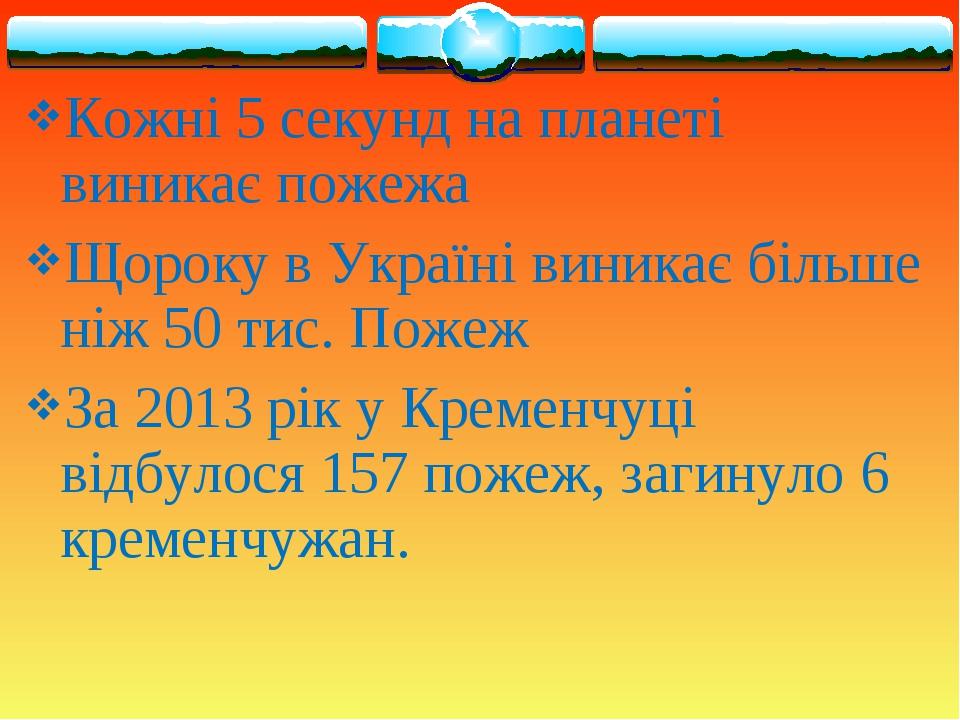 Кожні 5 секунд на планеті виникає пожежа Щороку в Україні виникає більше ніж...