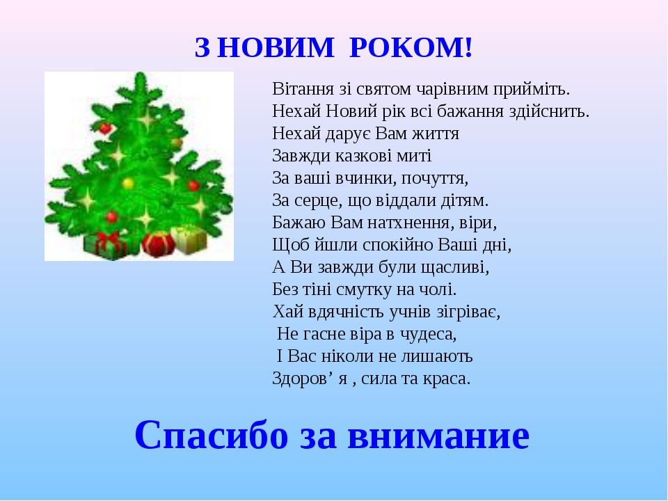 Вітання зі святом чарівним прийміть. Нехай Новий рік всі бажання здійснить. Н...