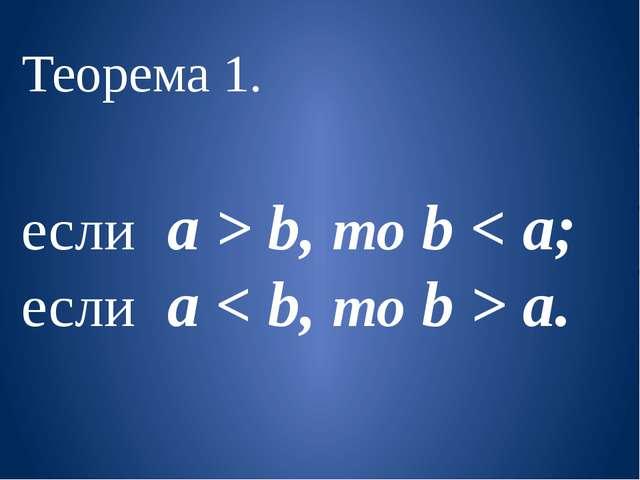 Теорема 1. если a > b, то b < a; если a < b, то b > a.