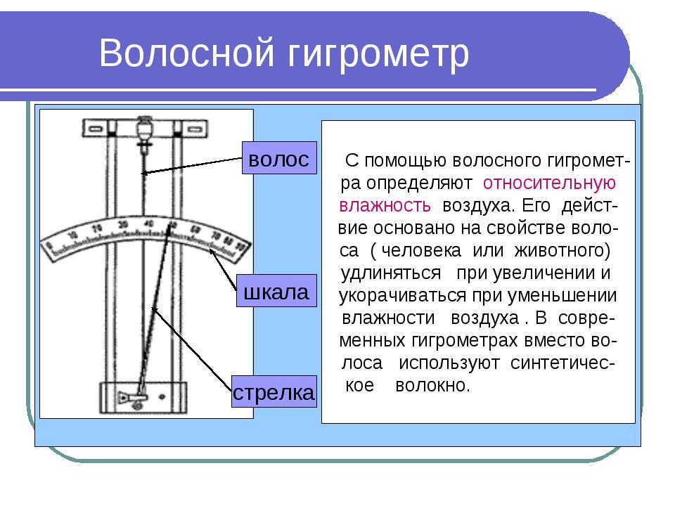 Волосной гигрометр С помощью волосного гигромет- ра определяют относительную...