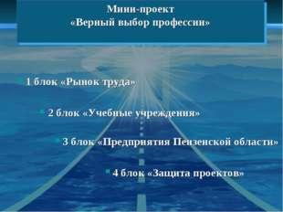 Мини-проект «Верный выбор профессии» 1 блок «Рынок труда» 2 блок «Учебные учр