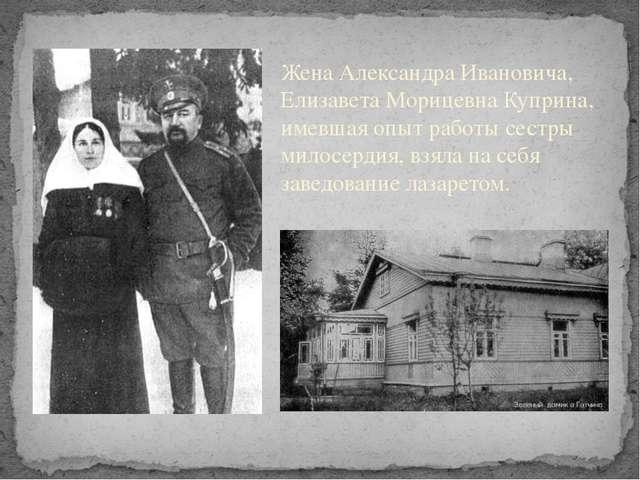 Жена Александра Ивановича, Елизавета МорицевнаКуприна, имевшая опыт работы...