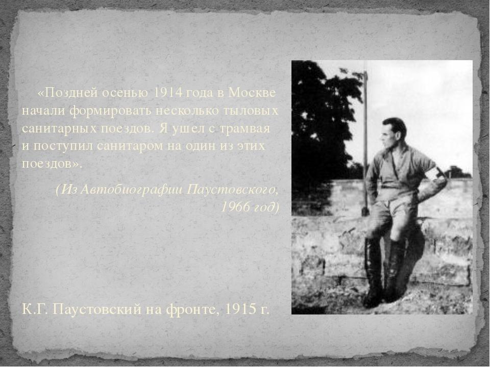 «Поздней осенью 1914 года в Москве начали формировать несколько тыловых сани...