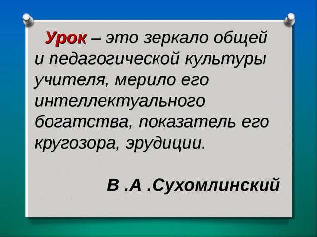 Урок – это зеркало общей и педагогической культуры учителя, мерило его инте...
