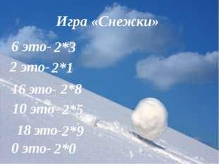 Игра «Снежки» 6 это- 2*3 2 это- 2*1 10 это- 2*5 16 это- 2*8 18 это- 2*9 0 это