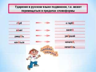 Ударение в русском языке подвижное, т.е. может перемещаться в пределах слово