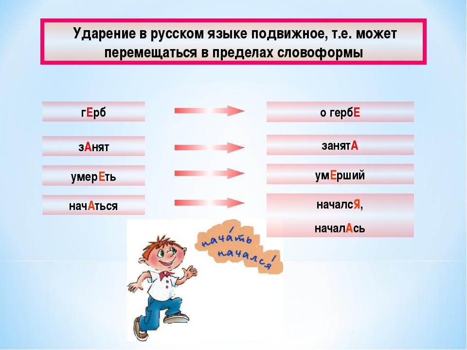 Ударение в русском языке подвижное, т.е. может перемещаться в пределах слово...