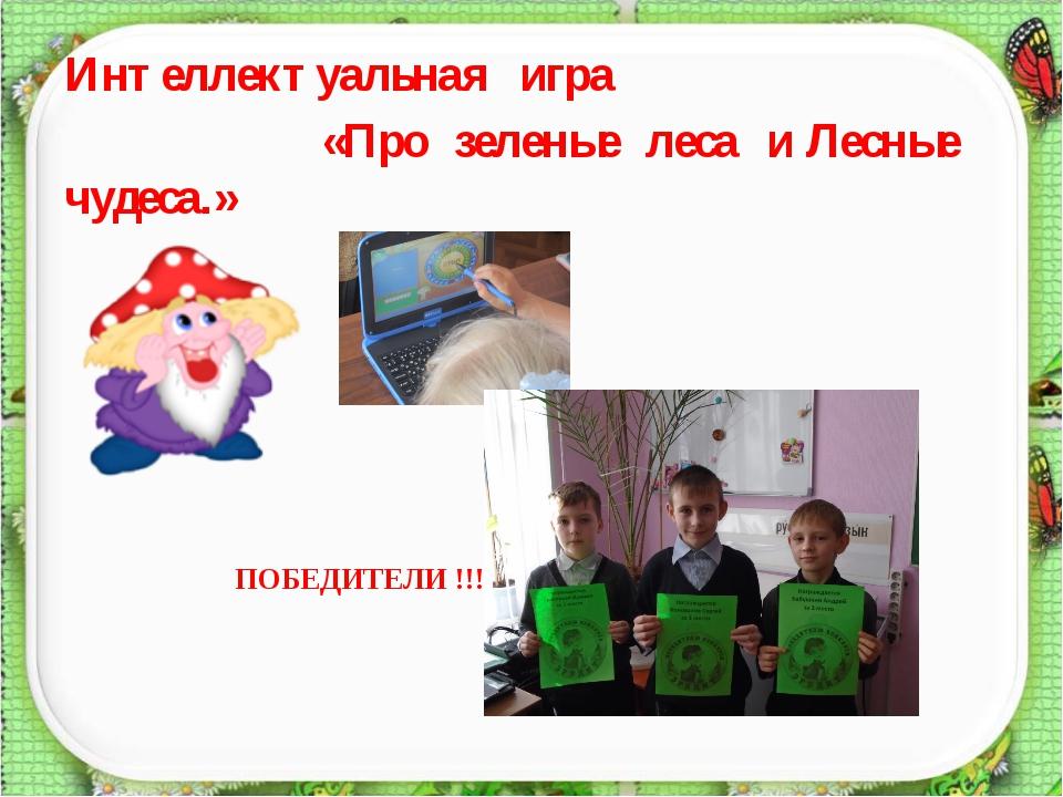 Интеллектуальная игра «Про зеленые леса и Лесные чудеса.» ПОБЕДИТЕЛИ !!!