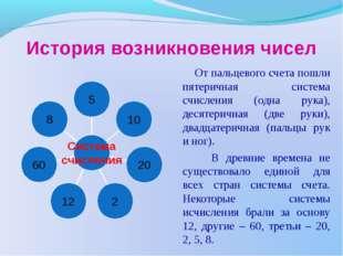 История возникновения чисел От пальцевого счета пошли пятеричная система счис