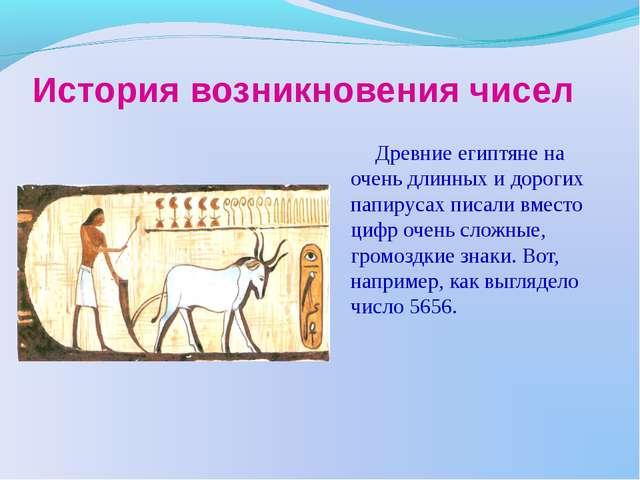 История возникновения чисел Древние египтяне на очень длинных и дорогих папир...