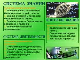 Система знаний включает: Знания основных положений биологических теорий, гипо