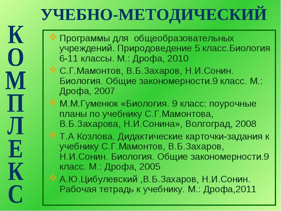 Программы для общеобразовательных учреждений. Природоведение 5 класс.Биология...