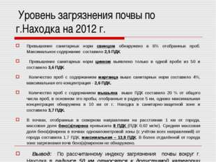 Уровень загрязнения почвы по г.Находка на 2012 г. Превышение санитарных норм