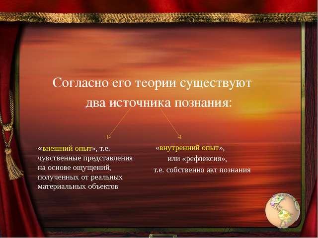 Согласно его теории существуют два источника познания: «внутренний опыт», ил...