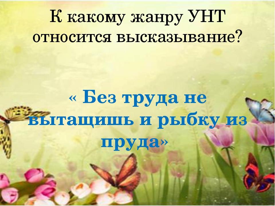 К какому жанру УНТ относится высказывание? « Без труда не вытащишь и рыбку из...