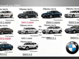 модельный ряд BMW BMW 1 серии BMW 3 серии BMW 6 серии BMW 5 серии BMW 4 серии