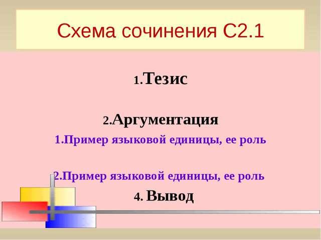 Схема сочинения С2.1 1.Тезис 2.Аргументация 1.Пример языковой единицы, ее рол...