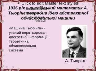 1936 рік – англійський математик А. Тьюрінг розробив ідею абстрактної обчисл