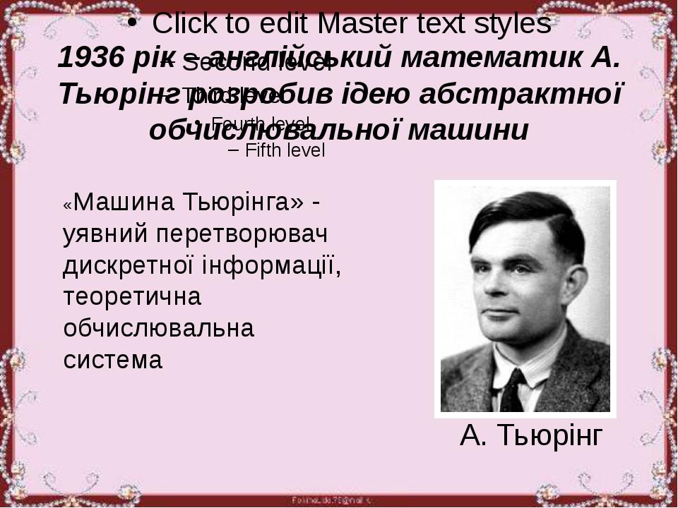 1936 рік – англійський математик А. Тьюрінг розробив ідею абстрактної обчисл...