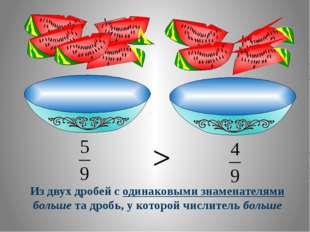 Из двух дробей с одинаковыми знаменателями больше та дробь, у которой числите
