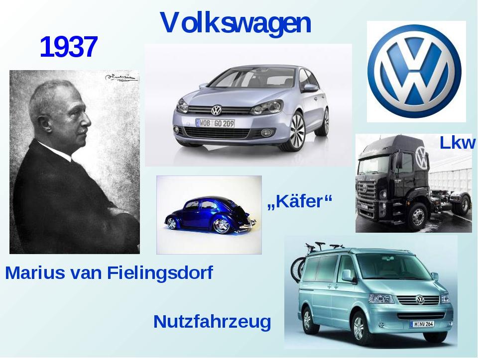 """Volkswagen Marius van Fielingsdorf 1937 Lkw Nutzfahrzeug """"Käfer"""""""