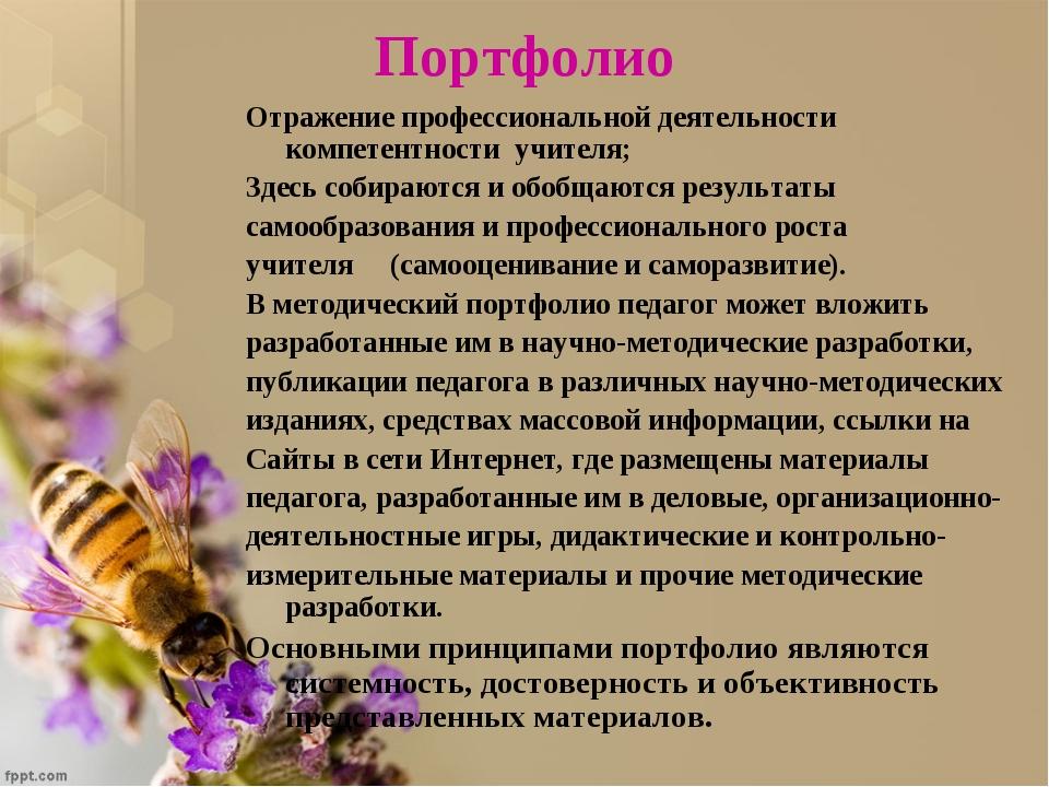 Портфолио Отражение профессиональной деятельности компетентности учителя; Зде...