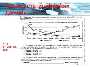 Анализ статистических данных 7 – 3 8 – 248 тыс. чел. Page *