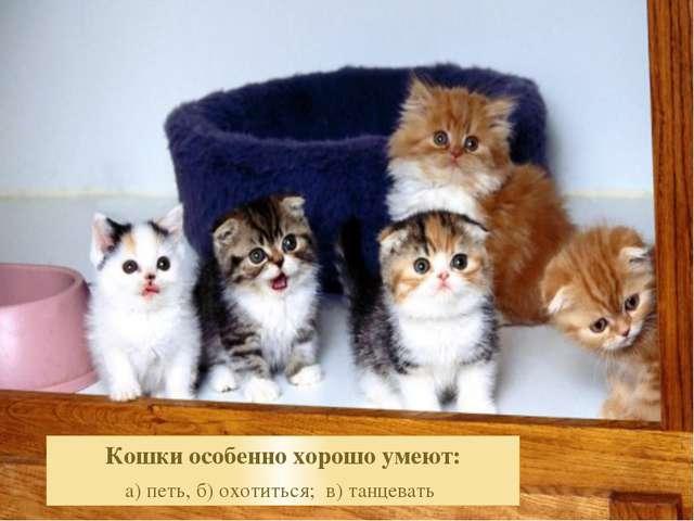 Кошки особенно хорошо умеют: а) петь, б) охотиться; в) танцевать