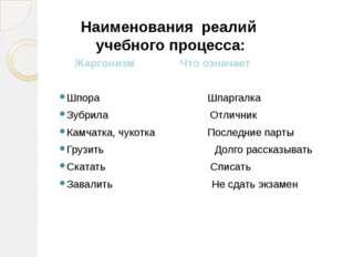 Жаргонизм Что означает Шпора Шпаргалка Зубрила Отличник Камчатка, чукотка По