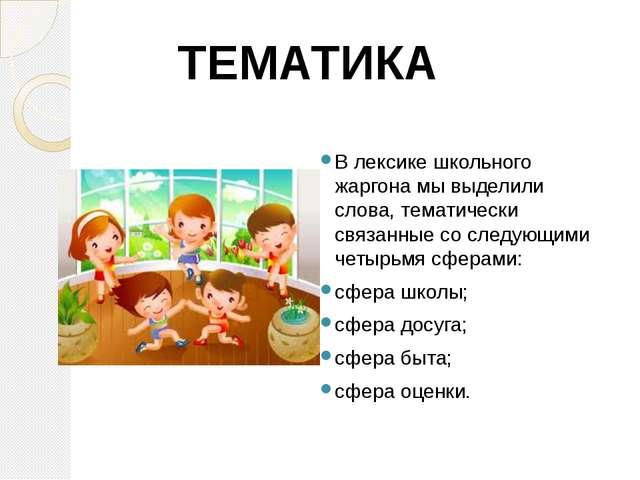 В лексике школьного жаргона мы выделили слова, тематически связанные со сле...
