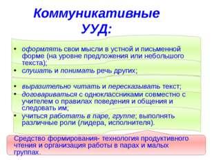 Коммуникативные УУД: оформлять свои мысли в устной и письменной форме (на ур