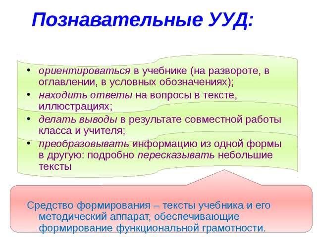 Познавательные УУД: ориентироваться в учебнике (на развороте, в оглавлении,...