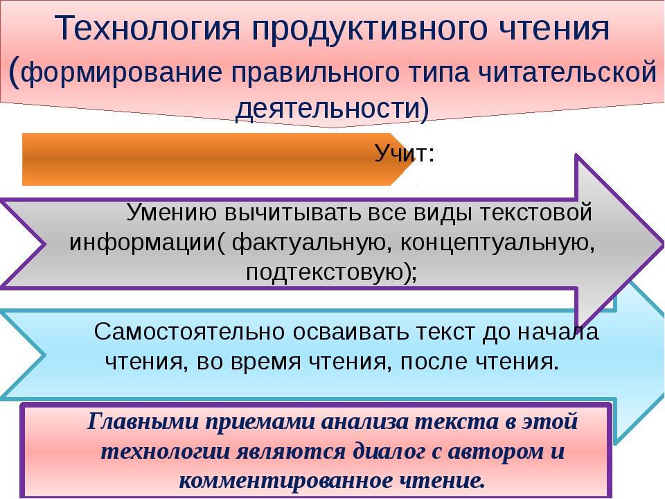 Технология продуктивного чтения (формирование правильного типа читательской...